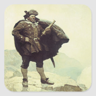 Vintage Pirates, Captain Bill Bones by NC Wyeth Square Stickers
