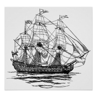 Vintage Pirates Galleon, Sketch of a 74 Gun Ship Poster