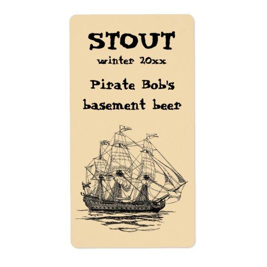 Vintage Pirates Galleon, Sketch of a 74 Gun Ship Shipping Label