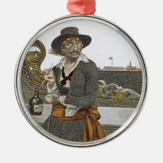 Vintage Pirates, Kidd on Deck of Adventure Galley Metal Ornament