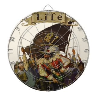 Vintage Pirates of Life 1921 Dartboard With Darts