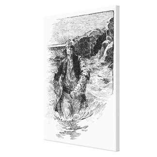 Vintage Pirates, Tailpiece, Black and White Sketch Stretched Canvas Print