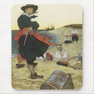 Vintage Pirates, William Kidd Burying Treasure Mouse Pad