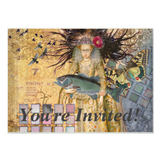 Vintage Pisces Whimsical Renaissance Gothic Fish 11 Cm X 16 Cm Invitation Card