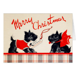 Vintage Plaid Scotty Dogs Merry Christmas Card