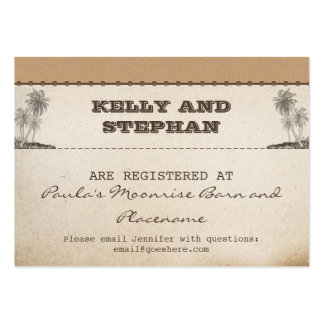 vintage plams wedding registry tickets pack of chubby business cards
