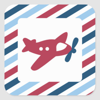 Vintage Plane Airmail Square Sticker
