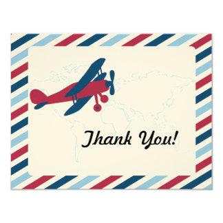 Vintage Plane Airmail Thank you 11 Cm X 14 Cm Invitation Card