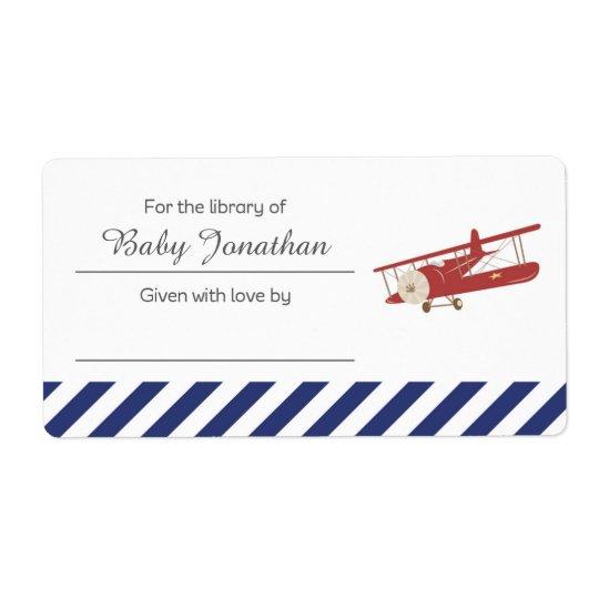 Vintage Plane Bookplate Label Sticker