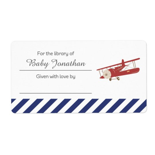 Vintage Plane Bookplate Label Sticker Shipping Label