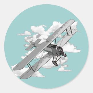 Vintage Plane Round Sticker