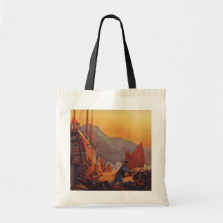 Vintage Plane Traveling on Vacation in the Orient Canvas Bags