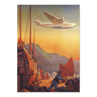 Vintage Plane Traveling on Vacation in the Orient 5x7 Paper Invitation Card