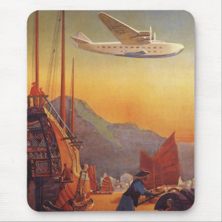 Vintage Plane Traveling on Vacation in the Orient Mousepad