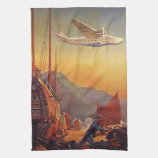 Vintage Plane Traveling on Vacation in the Orient Kitchen Towels