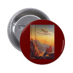 Vintage Plane Travelling on Vacation in the Orient Pinback Buttons