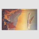 Vintage Plane Travelling on Vacation in the Orient Rectangular Sticker