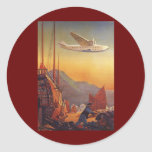 Vintage Plane Travelling on Vacation in the Orient Round Sticker