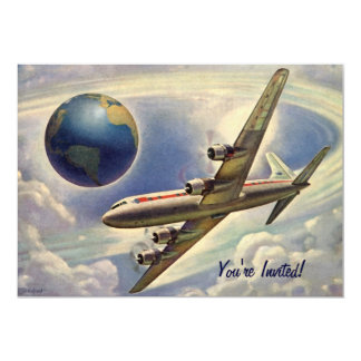 Vintage Plane with World Couple Shower Invitation