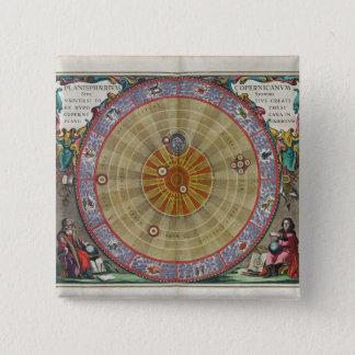 Vintage planisphere of Copernicus whole universe 15 Cm Square Badge