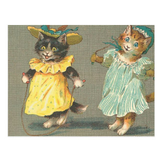 vintage playful kittens postcard