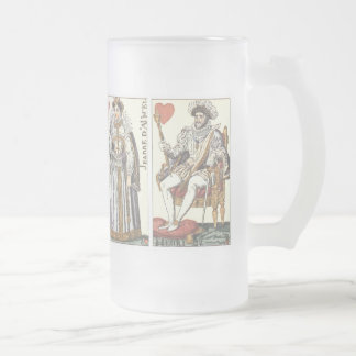 Vintage Playing Cards - Kings and Queens of Hearts Frosted Glass Beer Mug