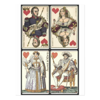 Vintage Playing Cards - Kings and Queens of Hearts Postcard