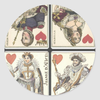 Vintage Playing Cards - Kings and Queens of Hearts Round Sticker