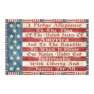 Vintage Pledge Of Allegiance Canvas Print