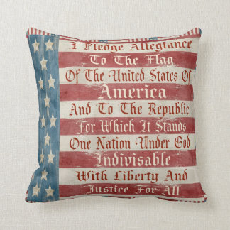 Vintage Pledge Of Allegiance Pillow Cushion