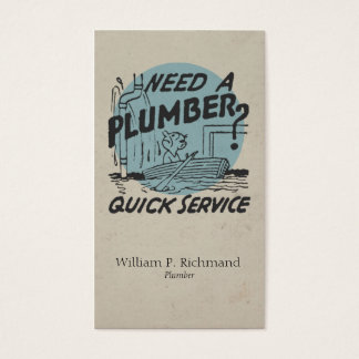 Vintage Plumber Boat Blue with Retro Circle