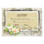 Vintage plumeria and ivy beige wedding RSVP card 9 Cm X 13 Cm Invitation Card