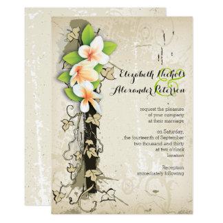 Vintage plumeria and ivy custom beige wedding card
