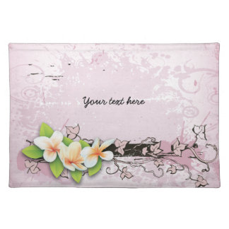 Vintage plumeria/frangipani and ivy pink placemat