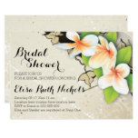 Vintage plumeria & ivy beige wedding bridal shower 13 cm x 18 cm invitation card