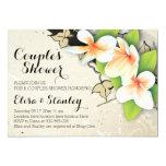 Vintage plumeria, ivy beige wedding couples shower 13 cm x 18 cm invitation card