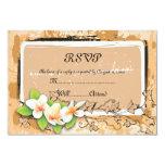 Vintage plumeria ivy orange white RSVP card 9 Cm X 13 Cm Invitation Card