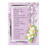 Vintage plumeria ivy purple white bridal shower 13 cm x 18 cm invitation card