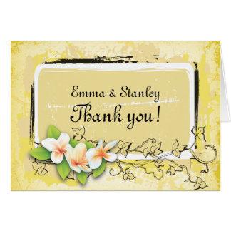 Vintage plumeria ivy yellow white Thank You Card