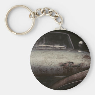 Vintage Plymouth Auto Rusted Artsy Imagery Detroit Basic Round Button Key Ring