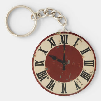 Vintage Pocket Watch Clock Face Shabby Distressed Basic Round Button Key Ring