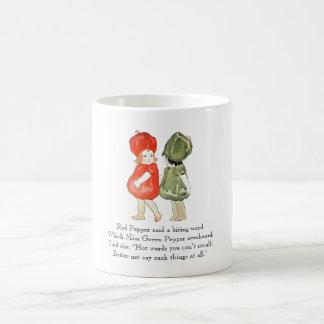 Vintage Poem Red Green Pepper Cute Kids Vegetable Coffee Mug