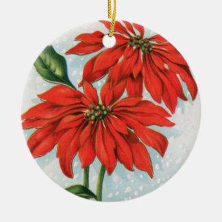 Vintage poinsettia flower christmas round ornament