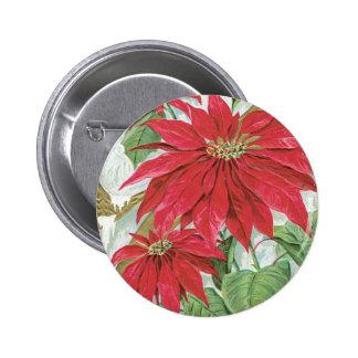 Vintage Poinsettia illustration. 6 Cm Round Badge