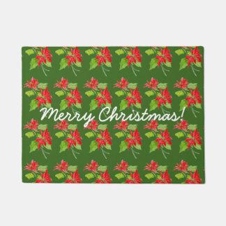 Vintage Poinsettia Merry Christmas Pattern Doormat