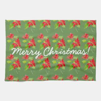 Vintage Poinsettia Merry Christmas Pattern Tea Towel