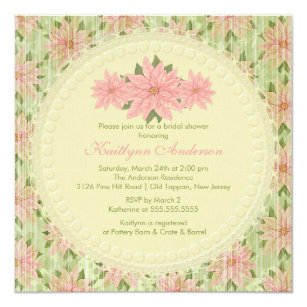 Vintage Poinsettia Winter Bridal Shower Invitation
