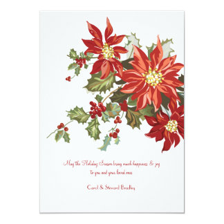 Vintage Poinsettias Flat Holiday Card