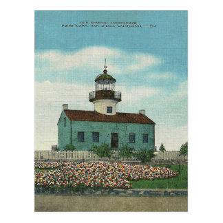 Vintage Point Loma Lighthouse San Diego California Postcard
