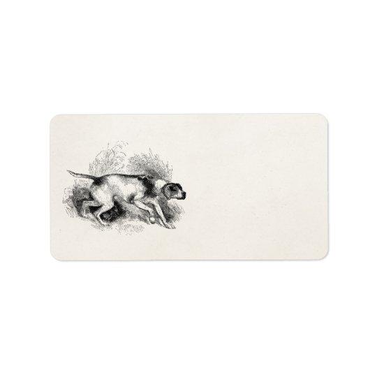Vintage Pointer Hunting Dog 1800s Pointers Dogs Address Label